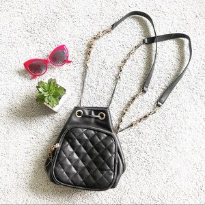 FREE PEOPLE black mini quilted chain backpack